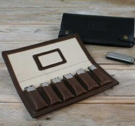 Pinegrove Leather 6 Pack Leather Harmonica Case