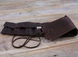 Straight-8 Leather Harmonica Case with tie cords - brown